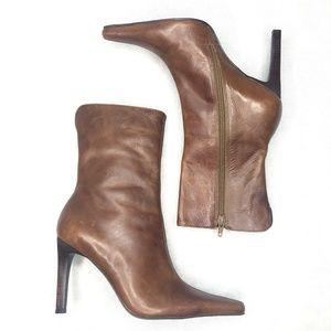 Steve Madden Triall Heel Booties Brown Leather
